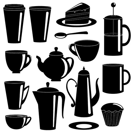Collection of tea items silhouettes isolated on white Vector