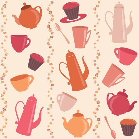 Stripy pattern with cups, teapots and cakes Vector