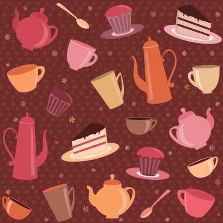 Tea pattern with cups, teapots and cakes Vector