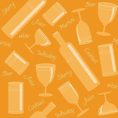 Seamless pattern with glasses, bottles and text Vector