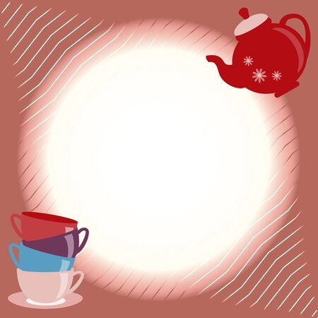 teatime: Bright greeting card with teapot and cups