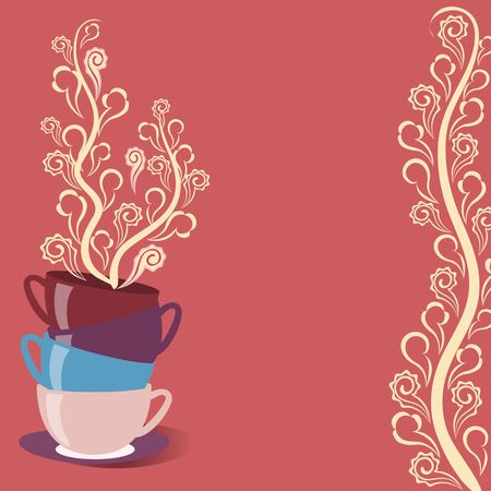 Bright tea card with cups and flowers Vector