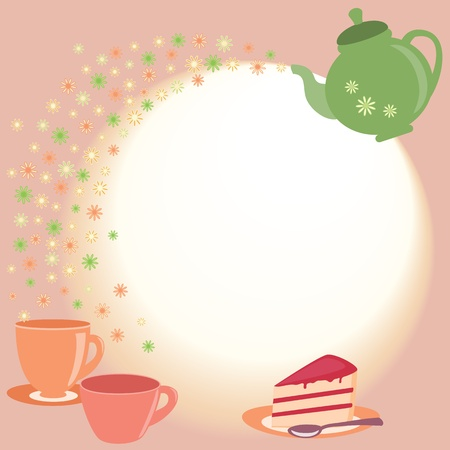 teacup: Bright tea card with teapot, cups and flowers Illustration