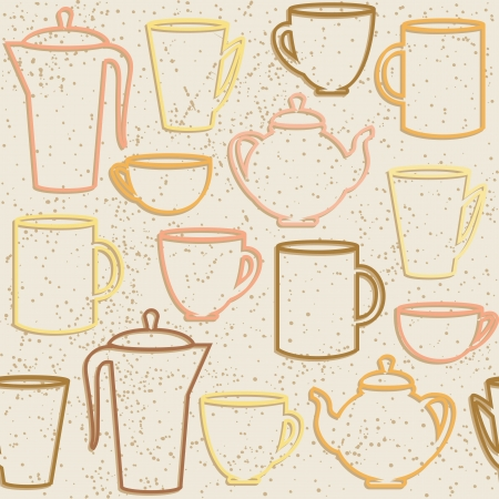 tea kettle: Grunge seamless pattern with teapots and cups silhouettes Illustration