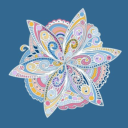 Ornamental round flower ornament with many details
