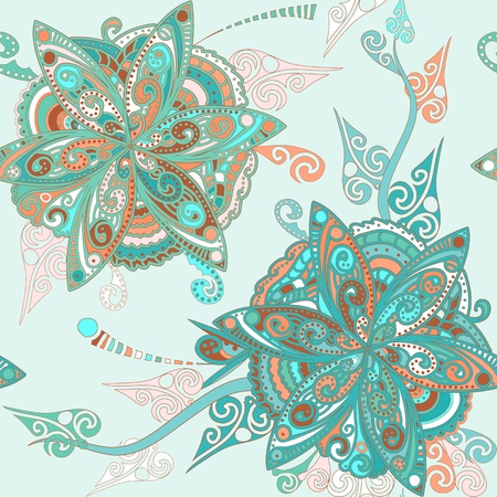Seamless pattern with flowers and leaves in eastern style Illustration