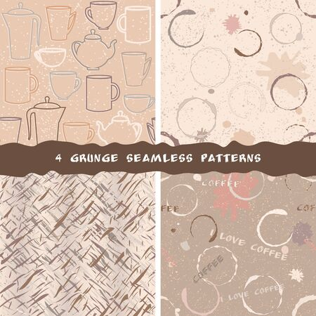 Collection of grunge coffee seamless patterns Illustration