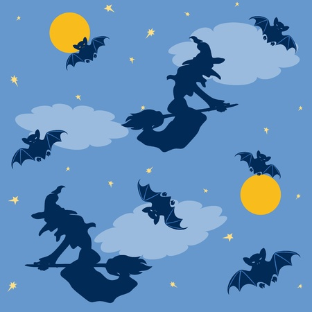 Halloween seamless pattern with witches and bats