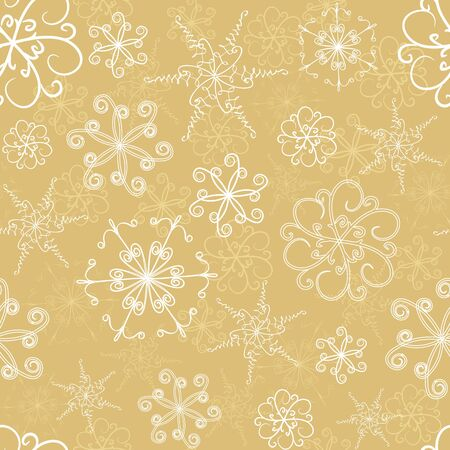 Seamless pattern with hand-drawn snowflakes Illustration