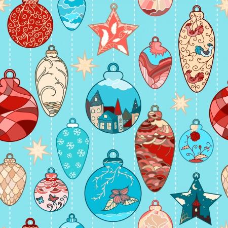 Kerstmis de hand getekende naadloze patroon met filigraan ballen Stock Illustratie