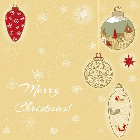 Christmas hand-drawn card with filigree balls