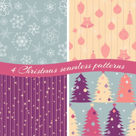 Collection of 4 seamless Christmas patterns Vector