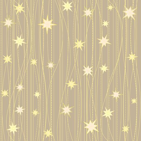 stripy: Golden stripy seamless pattern with stars