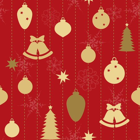 Christmas seamless pattern with balls and bells Vector