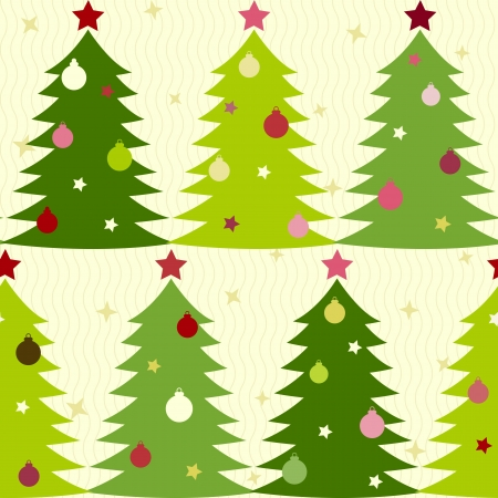 Christmas seamless pattern with decorated fir trees Vector