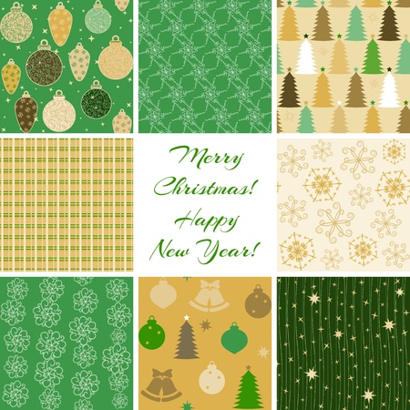 Collection of 8 seamless Christmas patterns Vector