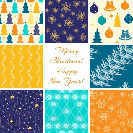 Collection of 8 seamless Christmas patterns