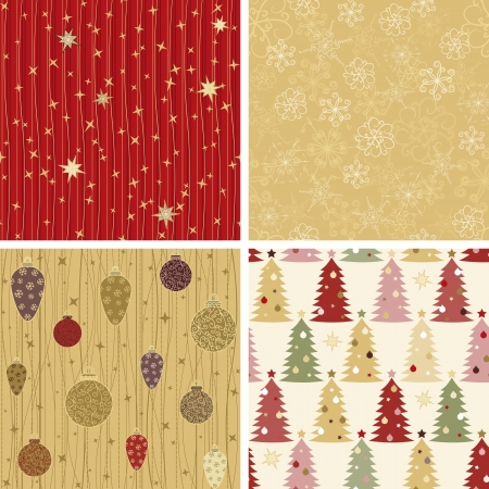 Collection of 4 seamless Christmas patterns