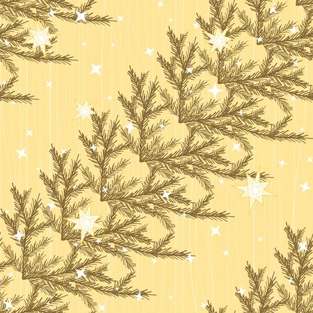 Diagonal seamless pattern with fir branches and stars Vector