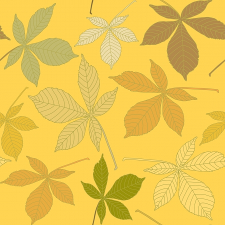 Seamless background with chestnut leaves Vector