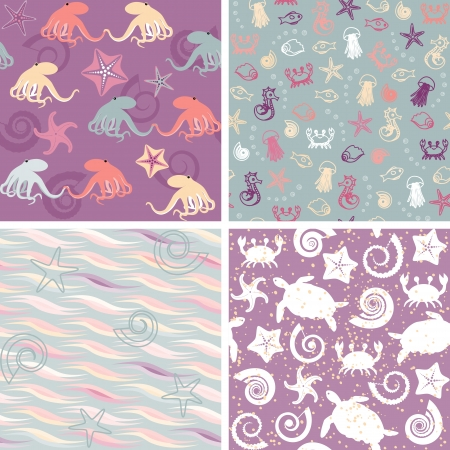 Colorful collection of sea life seamless patterns