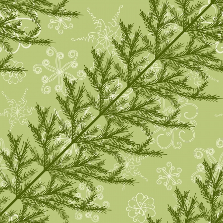 Diagonal seamless pattern with fir branches and snowflakes