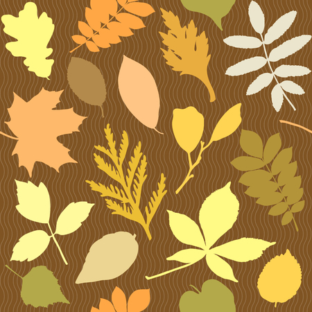 Seamless pattern with different leaves silhouettes Illustration