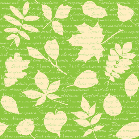 Seamless pattern with leaves silhouettes and text Vector