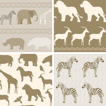 Seamless pattern with african animals on wavy background Ilustração