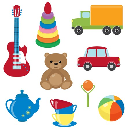 Collection of colorful vector toys