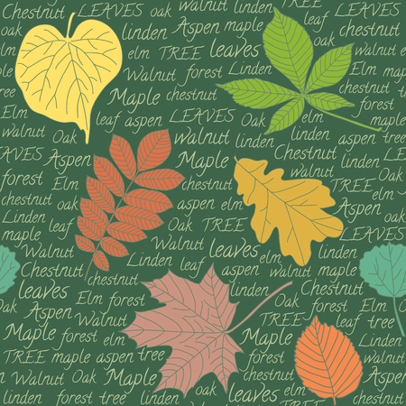 Seamless pattern with hand-drawn leaves and text