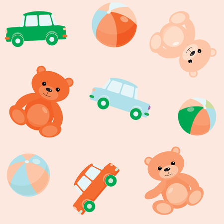 Bright seamless pattern with toy bears, cars and balls Vector