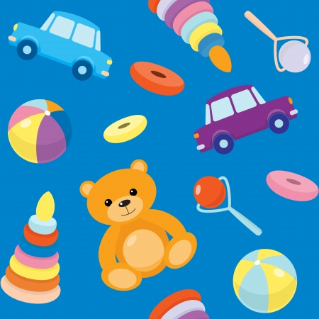 Bright seamless pattern with kids toys Vector