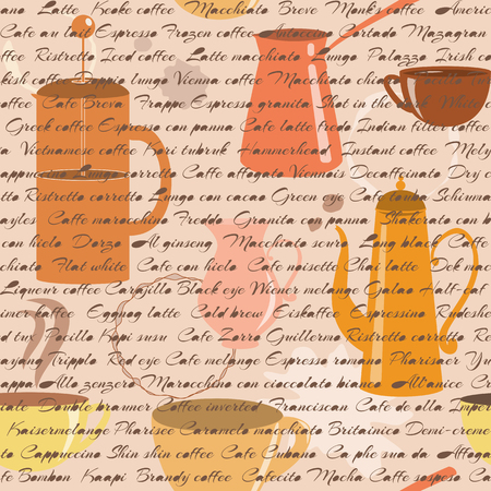 Seamless pattern with coffee types text and coffee items Illustration
