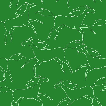 Seamless pattern with running horses silhouettes Vector