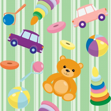 Striped seamless pattern with kids toys Vector