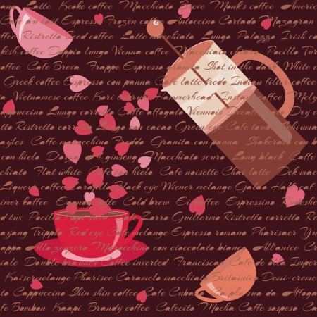 Romantic card with coffee, hearts and text