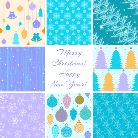 Collection of 8 seamless Christmas patterns Stock Vector - 23869399