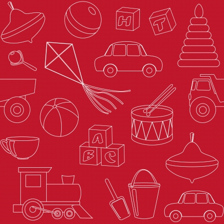Red seamless pattern with toys silhouettes Illustration
