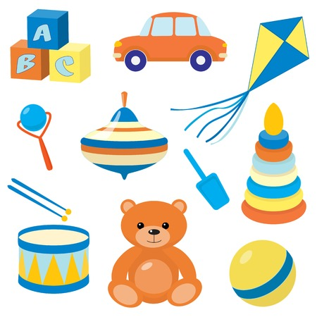 Collection of colorful childrens toys Vector