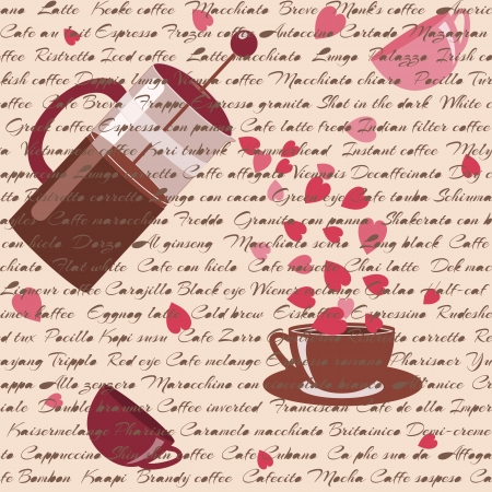 Romantic seamless pattern with coffee, hearts and text