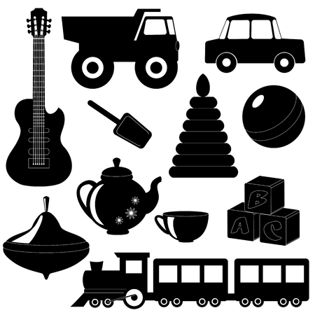 Collection of toys silhouettes isolated on white Vector