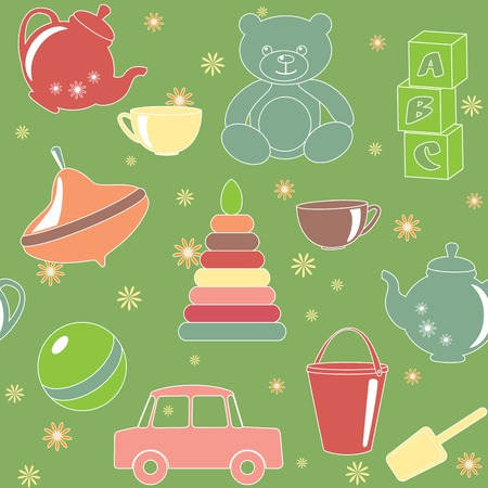 Green seamless pattern with kids toys Vector