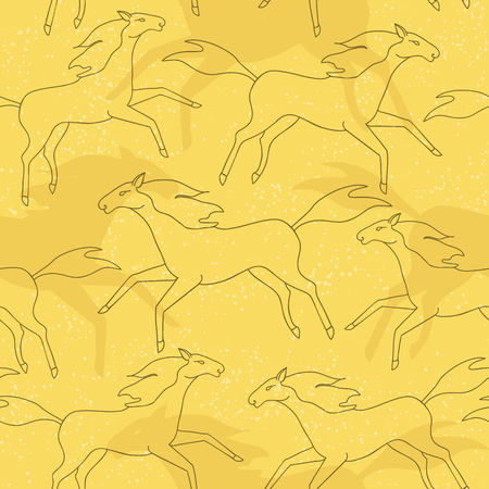 Seamless pattern with running horses silhouettes