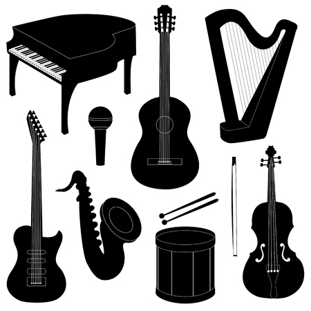 Set of musical instruments silhouettes isolated on white Vector