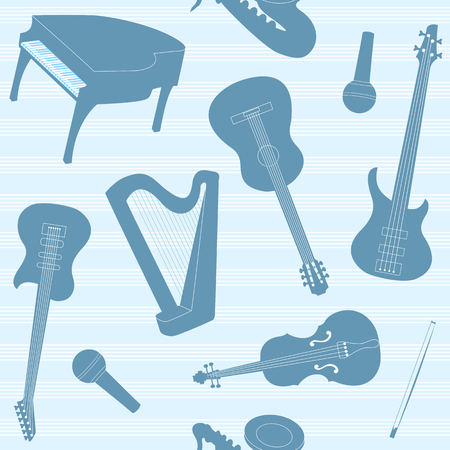 bass guitar: Striped pattern with musical instruments silhouettes