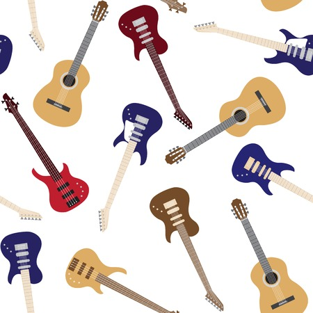 Seamless pattern with colorful guitars over white Vector