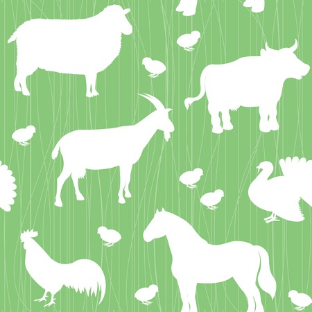 Seamless pattern with farm animals silhouettes over green