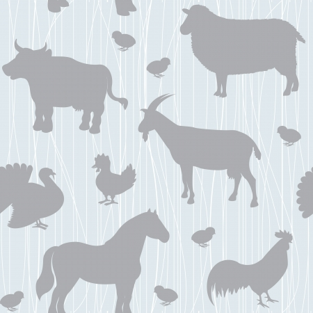 Seamless pattern with farm animals silhouettes over blue