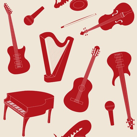 Seamless pattern with musical instruments silhouettes Vector